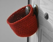 Red Hanging Storage Basket Office Organizer Doorknob Catchall Crocheted Decor Supply Holder Custom Colors