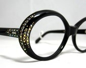 Vintage Eyeglasses. 60s Round Large Oval Black Frames with Gold Beads and AB Rhinestones