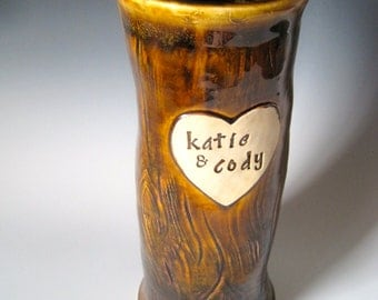 Custom Wedding or Anniversary Vase Carved Names on a Wooden Tree Trunk Vase - Handmade Stoneware