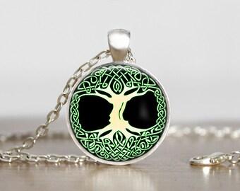 Celtic Green Tree of Life Pendant, Tree of life Jewelry