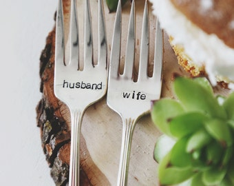 Husband & Wife - Hand Stamped Vintage Wedding Cake Forks (Matching Set)