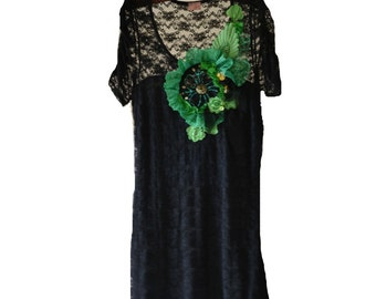 Black, upcycled vintage lace bohemian chic style dress with green decoration
