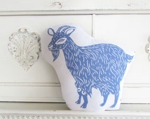 Plush Goat Pillow. Hand Woodblock Printed. Choose Any Color. Made to Order.