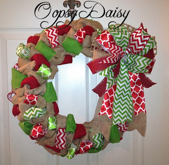 Items similar to bubble burlap christmas wreath chevron Burlap xmas wreath