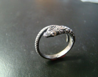 Amazingly detailed Sterling Silver and 14k gold snake ring with genuine diamond eyes