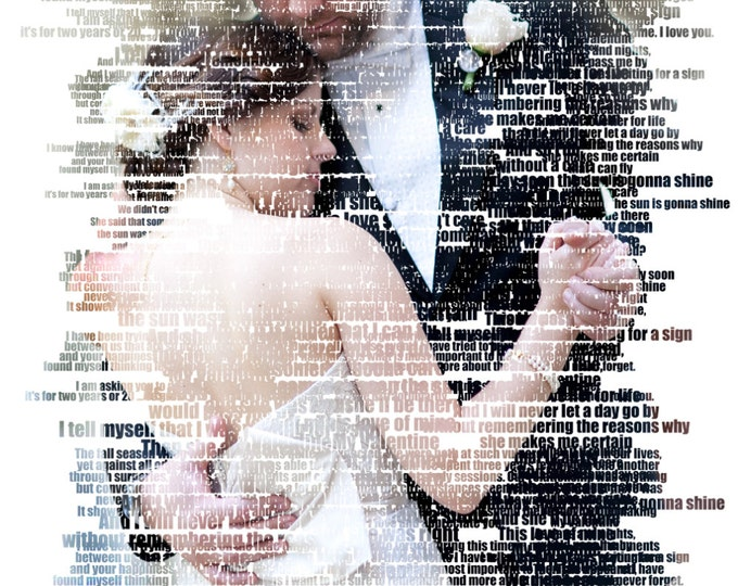 Custom Word Art Photo Gift Portrait On Canvas Wedding Vows Song Lyric Gift 20x24