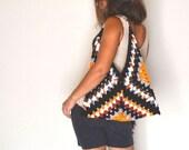 25% OFF Granny Square Bag Crochet Hobo Bag Shoulder Purse Black White Mustard Striped One of a Kind