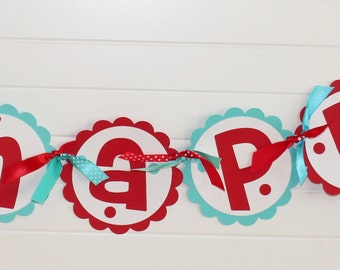 ELMO Birthday Banner - Turquoise and Red
