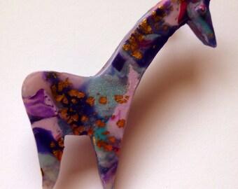 Giraffe Brooch Giraffe Pin Giraffe Jewelry Giraffe Jewellery Polymer Clay Brooch African Animal Brooch