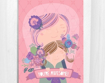 You Are Awesome, Thank You, Greeting Card, Floral, Nougat Colour, 5x7