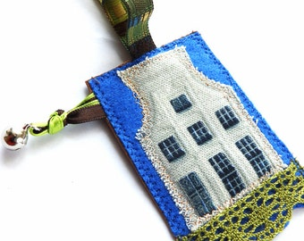 Travel tag, travel label, luggage tag,suitcase tag, gift for him, gift for her, personalized id, leather textile travel tag, Northen Europe