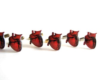 anatomical heart cuff links - human heart cuff links - anatomically correct heart jewelry - mens accessories