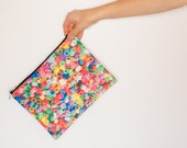 Clutch beads print, shoulder bag, foldable bag clutch, detachable chain, hand printed, bright color