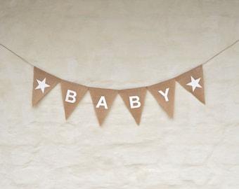 BABY Hessian Nursery Baby Children Celebration Baby shower Party Banner Bunting Decoration white star garland