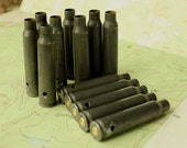 5 - DRILLED Gunmetal Steel RIFLE bullet Shell Casings from Colorado - Side- Drilled ..SRFSD