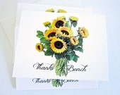 Sunflower Thank You Cards, Thanks A Bunch, Sunflowers, Set of Ten, Blank Cards, Country Chic, Country Western Cards Gold, Green, Brown