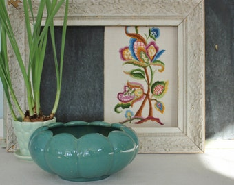 Vintage Deep Aqua Pottery Planter Bowl