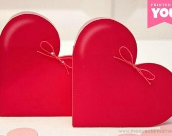 Deep Pink HEART Favor Box - DIY Printable Valentine's Day Gift Box // Wedding Favor // Bridal Shower // Baby // Love - Instant Download