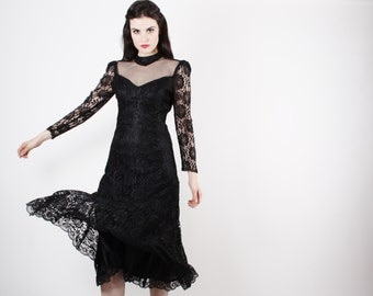 Vintage Black Lace Dress  - Black Wedding Dress -  The Black Tourmaline Dress  - 5026