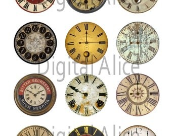 VINTAGE CLOCK FACES Craft Circles - Instant Download Digital Printable  -Bottlecaps, Stickers,Steampunk Industrial Antique Clocks - 4 sizes
