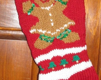 Knitted Personalized Gingerbread Girl Christmas Stocking