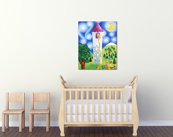RAPUNZEL'S TOWER, 18x24  Princess Painting For Girls Room, Baby Girls Nursery Art