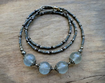 Blue Fluorite Necklace, slate blue gray stone crystal spheres and vintage style antiqued brass filigree Bohemian jewelry