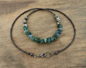Rough Green Apatite Necklace, rustic Bohemian beaded jewelry with raw blue green apatite and iron pyrite stone beads