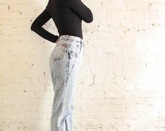 BONJOUR Stonewashed High-Waisted Tapered Denim Pants