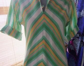 70s WILLI of CALIFORNIA--Cotton Voile Kaftan--Chevron Stripes--Watermelon Colors