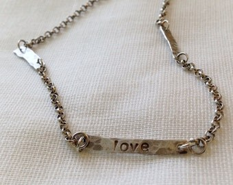 Sterling Silver Necklace, Silver hand stamped, Hand hammered