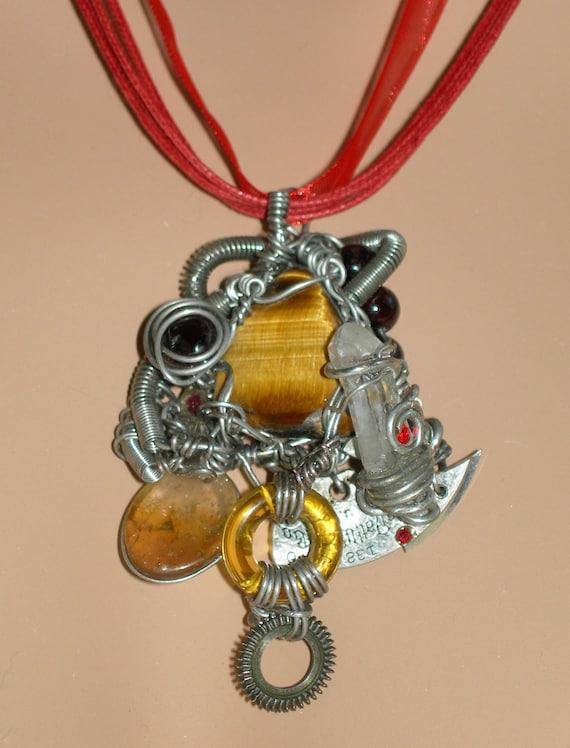 Power Attract Money - Prosperity TIGERS EYE STEAMPUNK Pendant  Amulet Necklace