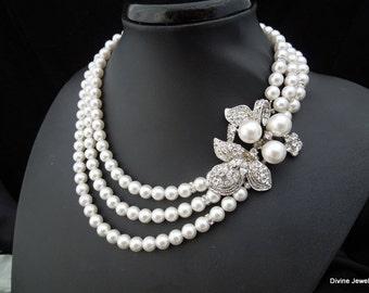 bridal rhinestone necklace, pearl bridal necklace, Wedding Rhinestone necklace, swarovski pearl necklace, Statement Bridal necklace, Sharon