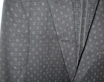 Vintage Rockabilly Jacket 1950s Black Wool Jacket with White Square Flecked Design 40 Chest So Elvis So Rock n Roll