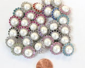 Set of 5- Pearl Rhinestone Buttons- 16mm- You Choose Colors