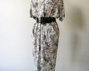 Vintage 1980s Black and White Translucent Dress