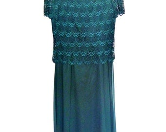 Vintage 90's Forest Green Lace Top over Chiffon Formal Floor-Length Dress by After Dark Women's Medium