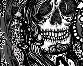 Santa Muerte  - Archival Art  Print 8 x 10 inches Vector Gothic Art Dark Tattoo illustration Skull Woman Day of the Dead Lace