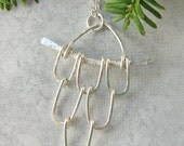 Unique Sterling Silver Hammered Pendant and Chain Necklace
