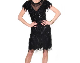 Black Beauty, Stunning French Vintage, Black Sequin and Bead Encrusted Evening Party Dress, from Paris
