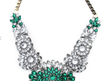 Emerald Queen, Green Crystal Bib Fashion Statement Necklace
