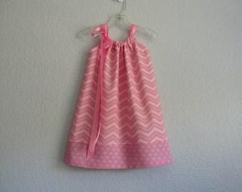 Little Girls Chevron Stripe Pillowcase Dress - Pink and Grey Chevron Stripes - Girls Sun Dress - Size 12m, 18m, 2T, 3T, 4T, 5, 6, 8, or 10