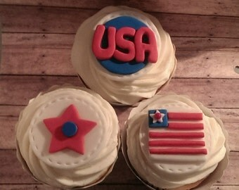 Patriotic Red, White & Blue  Fondant Cupcake Toppers 12 (one dozen) 4 of each pattern