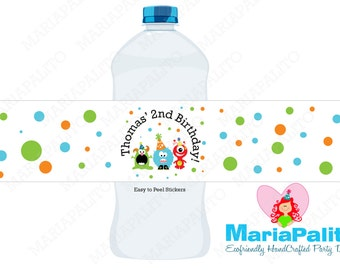 Monster Water Bottle Labels, 5 Personalized  Monster Party Birthday Party Labels, Monster Birthday  A1058