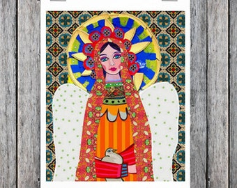 Mexican Folk Art - Art  Art Print Poster by Heather Galler of Painting - Virgin of Guadalupe Angel (HG624)