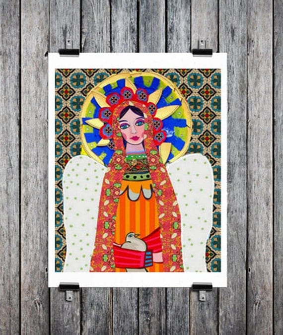 50% Off - Mexican Folk Art - Art  Art Print Poster by Heather Galler of Painting - Virgin of Guadalupe Angel (HG624)