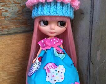 Crochet Cupcake Hat Beanie Helmet for Blythe Doll