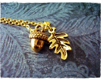 Gold Acorn and Oak Leaf Necklace - Antique Gold Pewter Oak Leaf and Acorn Charms on a Delicate Gold Plated Cable Chain or Charms Only