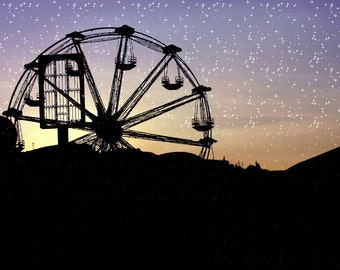 Photo download Starry sky Ferris wheel night Children gift carnival photography Kids wall art Cyber monday