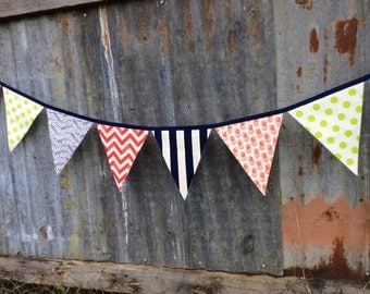 Bunting Flags Nautical Red, Lime, Navy and Ivory Fabrics Large size for Birthday Party, Nursery, Photo Prop